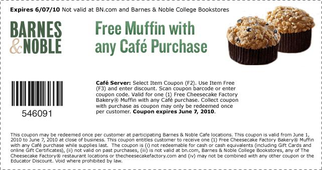 Free Muffin With Cafe Purchase at Barnes & Noble | Living ...