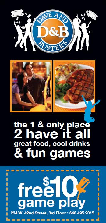 image about Dave and Busters Printable Coupons known as Totally free Dave Busters $10 Participate in Coupon Residing Absolutely free NYC