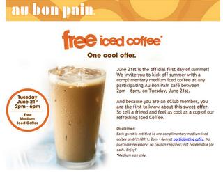 Free au bon pain iced coffee day living free nyc