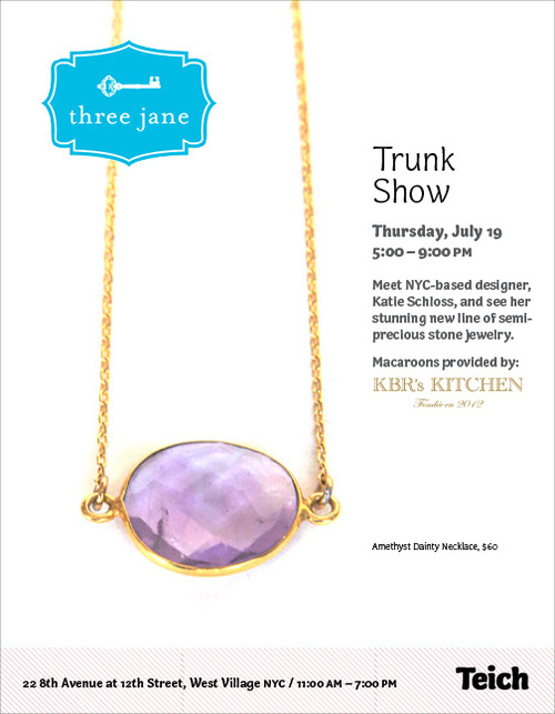 Three jane jewelry trunk show at teich living free nyc for Teich design new york